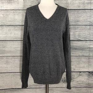H&M gray oversized cotton V neck sweater